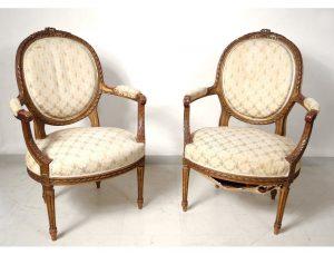 Fauteuil Louis XVI par deux